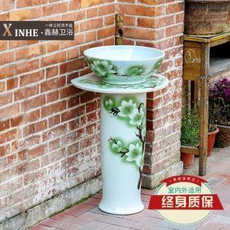 Lavabo jingdezhen ceramic column hand-painted blue glaze art one floor column vertical basin washing a face basin