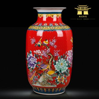 Jingdezhen ceramics China red large vases, flower arranging is home sitting room adornment is placed hotel wedding celebrations