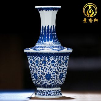 Jingdezhen ceramics vase antique blue-and-white large flower arranging new porch sitting room of Chinese style household act the role ofing is tasted furnishing articles
