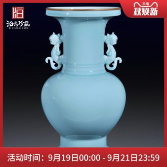 Jingdezhen ceramics imitation qing qianlong powder blue glaze vase sitting room of Chinese style household decorations collection furnishing articles