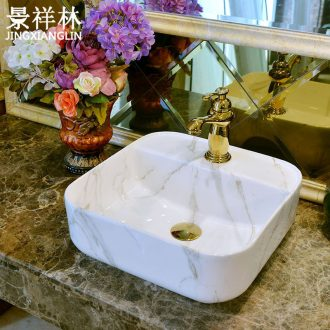 Jingdezhen archaize stage basin is a rectangle ceramic lavatory marble art toilet lavabo on stage