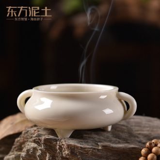 Oriental clay ceramic antique teachers censer home plate present aromatherapy furnace interior/three small candle dragon furnace