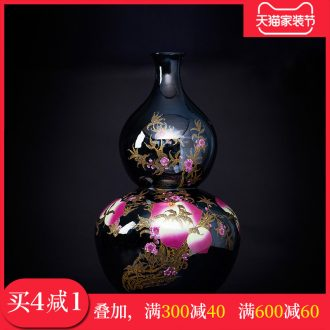 Jingdezhen ceramics peach gourd vases, antique Chinese style living room TV cabinet decoration floor high furnishing articles