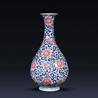 Jingdezhen ceramics imitation qianlong blue tie up lotus flower goddess of mercy bottle vases, flower arrangement, new Chinese style living room furnishing articles