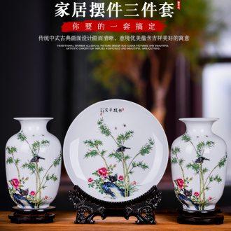 Jingdezhen ceramics modern three-piece floret bottle of Chinese style household TV ark decoration crafts are arranging flowers