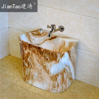 Mop pool home bathroom ceramic wash mop pool imitation marble balcony table control automatic mop pool water