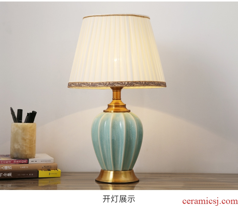 Ceramic lamp lamp of bedroom the head of a bed new Chinese creative European American contemporary and contracted hotels sitting room adornment lamps and lanterns