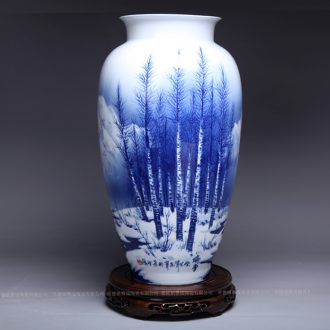 Jingdezhen ceramic contemporary and contracted sitting room place hand-painted manually restoring ancient ways of blue and white porcelain vase household decoration