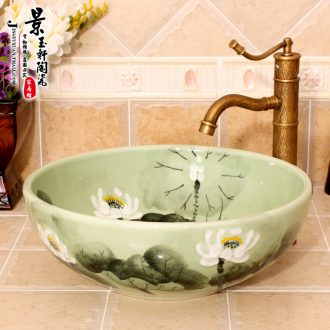 Jingdezhen JingYuXuan ceramic wash basin stage basin sink art basin basin hand-painted on green lotus