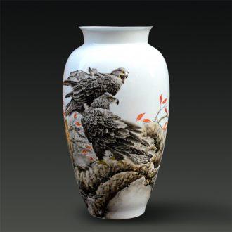 Jingdezhen ceramic Yu Zhao rev hand-painted fine powder enamel vase sky modern figure household gifts handicraft furnishing articles