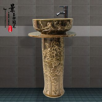Jingdezhen JingYuXuan art basin ceramic face basin sinks pillar carved lotus three-piece blackish green