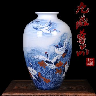 Jingdezhen ceramics master hand painted blue and white porcelain vase household adornment handicraft furnishing articles of contemporary sitting room decoration