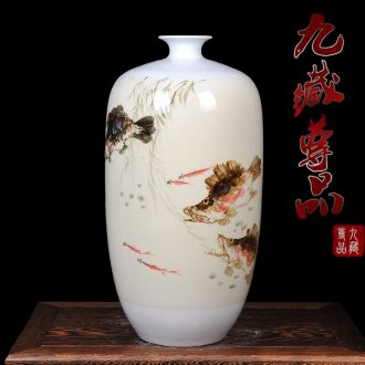 Jingdezhen ceramics vase master hand draw freehand brushwork figure of riches and modern living room home decorative furnishing articles