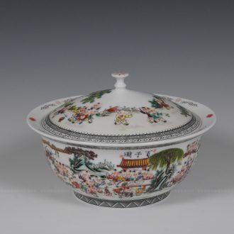 Jingdezhen ceramics tureen hand-painted pastel Wang Rongjuan master of the ancient philosophers, Zhang Bingxiang hundred bucks handmade porcelain