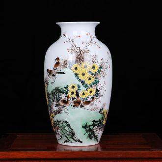 Master of jingdezhen ceramics Xu Xuegen hand-painted vases, drunk qiu home home sitting room handicraft furnishing articles