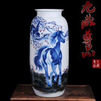 Jingdezhen ceramic hand-painted pastel blue and white porcelain jar, vase seal hou home sitting room classic crafts are immediately
