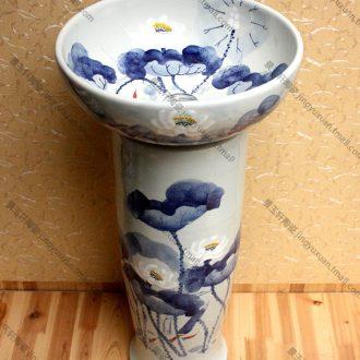 Jingdezhen TaoJingYu hin ceramic art basin blue lotus pillar three-piece basin sinks