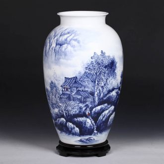 Master of jingdezhen ceramics hand-painted village people of blue and white porcelain vase modern home fashion crafts