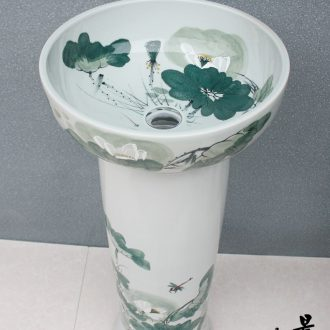 JingYuXuan ceramic art basin basin of lavatory floor pillar pillar ishikawa lotus rural style