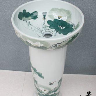 JingYuXuan ceramic art basin basin of lavatory floor pillar pillar ishikawa lotus rural style