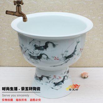 Jingdezhen JingYuXuan large hand-painted shrimp on ceramic art basin of mop mop pool mop pool under the sink