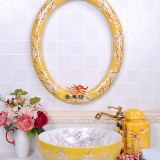 JingYuXuan ceramic art basin golden plum oval frame with the stage of the basin that wash a face basin sink combination