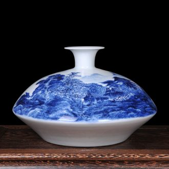 Jingdezhen ceramics famous hand-painted scenery flat belly modern blue and white porcelain vase new classical household crafts