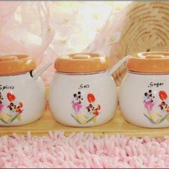 JingYuXuan Disney mickey's kitchen ceramic flavor pot three-piece courtship