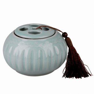 East west tea pot of ceramic POTS cover seal pot caddy elder brother kiln five hole flat petals GA2885