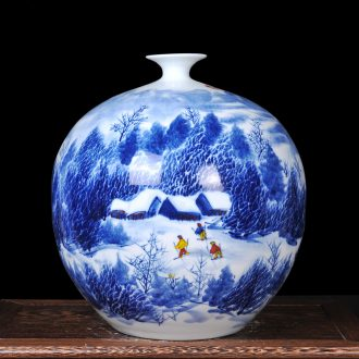 Master of jingdezhen ceramics hand-painted snow small mouth and heavily vase of blue and white porcelain gifts home crafts