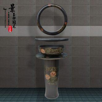 JingYuXuan pillar of high temperature ceramic basin ancient carriage basin sinks one vertical landing hand basin