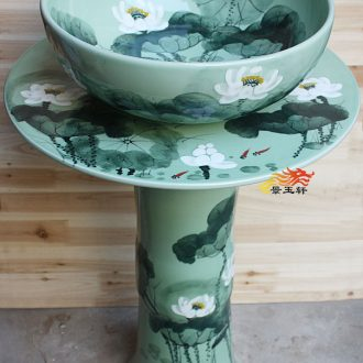 JingYuXuan jingdezhen hand-painted lotus pillar on the pot lavatory basin bathroom hand basin sink basin