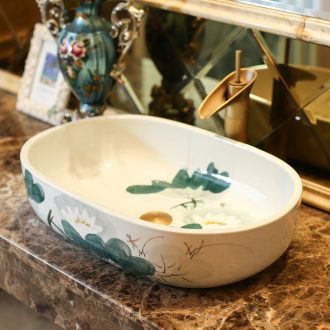 Jingdezhen rain spring basin art ceramics on elliptic basin suit lavatory toilet lavabo