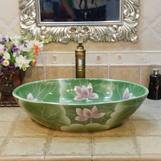 JingYuXuan jingdezhen ceramic art basin stage basin sinks the sink basin basin elliptic complete green
