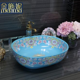 Gold cellnique modern fashion stage basin of continental sink basin blue toilet stage basin ceramic wash basin