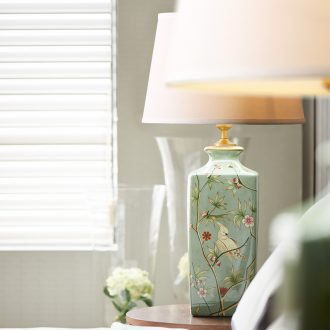 Kay Qiao Xin model of American living room lamp example room tea table lamp green ceramic painting of flowers and contracted sweet bedroom lamps and lanterns
