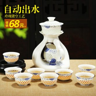 Bin, the hot of a complete set of automatic and exquisite ceramic hollow honeycomb kung fu tea set lazy creative tea