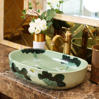 Jingdezhen rain spring basin art ceramic table suits balcony water lavatory toilet oval sink