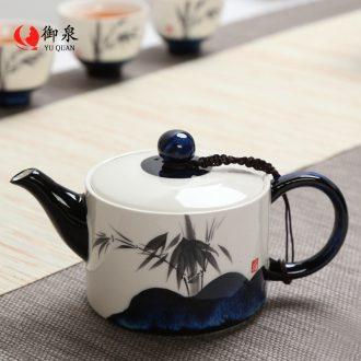 Imperial springs ceramic teapot single pot of kung fu tea set household pure manual variable MoZhu belt filter tea