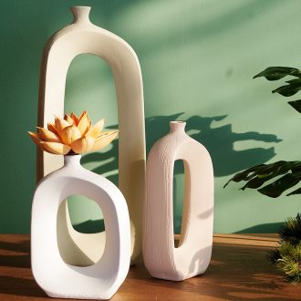 Creative Nordic ins wind ceramic dry flower vases, flower implement fashionable sitting room adornment table furnishing articles of China arts and crafts