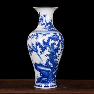 Jingdezhen blue and white vase birds home decoration high-end antique ceramics kangxi mei bottle process sitting room furnishing articles