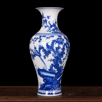 Jingdezhen blue and white vase birds home decoration high-end antique ceramics kangxi mei bottle process sitting room furnishing articles