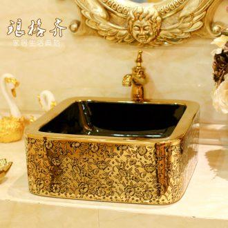 Post, neat square table bonsai, ceramic lavabo that defend bath lavatory basin art basin golden feather