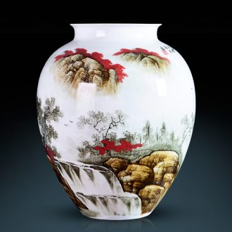 Famous master of jingdezhen ceramics hand-painted enamel vase red landscape sitting room porch Angle of a few adornment furnishing articles