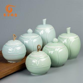 East west pot of ceramic tea caddy large tea box sealed cans creative receives longquan celadon caddy