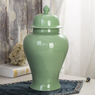 Jingdezhen ceramics general celadon pot vase example room sitting room of new Chinese style household soft adornment is placed