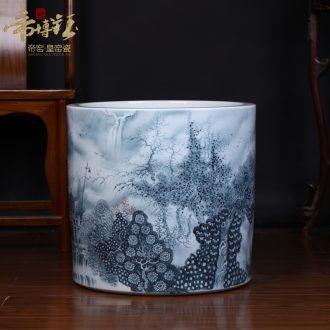 Jingdezhen ceramic king of the ring money master hand-painted color ink landscape of large vases, handicraft decoration quiver