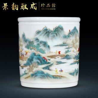 Jingdezhen ceramic vase brush pot new Chinese style decoration pen pen container handicraft furnishing articles home study office