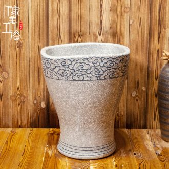 M beauty pool of jingdezhen ceramic mop mop basin to the balcony to mop pool 35 cm white crack qingyun
