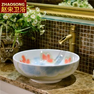 European ceramic round the stage basin outdoor toilet lavabo table face basin art hotel lavatory circle